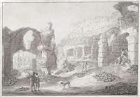 folge von 5 bll. mit römischen ruinen am forum romanum die durch personengruppen belebt werden by johann jakob hoch