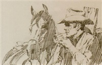 cowboy with horse by jim smith