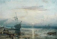 a beached sailing ship with hastings beyond by william collingwood smith