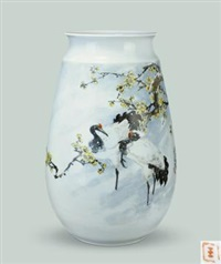 《鹤 雪中情》粉彩瓶 (crane snow vase) by tu xusheng