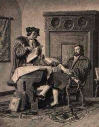 columbus erklärt könig ferdinand seinen plan anhand alter texte by adalbert pilch