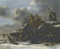 a winter landscape with a frozen river with skaters and a horse before an inn and a windmill on a small hill to the right by klaes molenaer