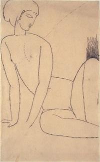 nu accroupi (nudo seduto con le mani al suolo) by amedeo modigliani