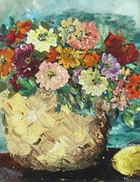 still life with colorful dahlias in a basket by christine swane