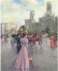 a stroll in the afternoon, madrid (+ the elegant pedestrian, madrid; pair) by juan puig soler