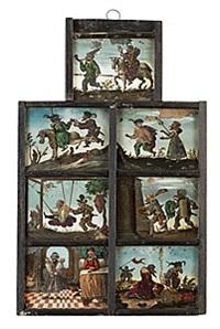 burleska scener (7 works, framed together) by abram efimovich arkhipov