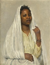 african beauty in white by franz xavier kosler