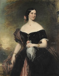 portrait of a lady, three-quarter length, wearing a black dress trimmed with white lace by james godsell middleton