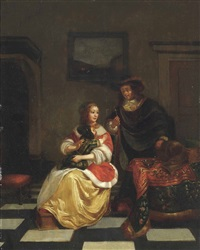 an elegant couple with a child in an interior by gabriel metsu