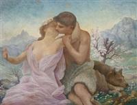 couple de bergers amoureux devant les montagnes by paul de laboulaye