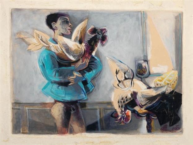 muchacho con un gallo by fernando botero