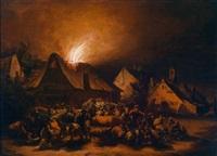 nächtliche feuersbrunst in einem dorf by egbert lievensz van der poel