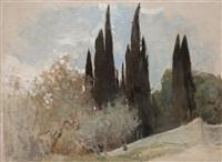 cypresser, fiesole (cypresses, fiesole) by helene sofia schjerfbeck