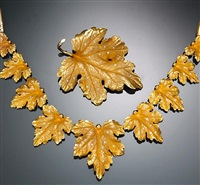 set of jewelry comprising of a necklace and brooch of foliate design (set of 2) by forstner