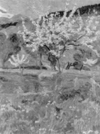 frühlingslandschaft mit blumenwiese und blühenden bäumen by valentine metein-gilliard