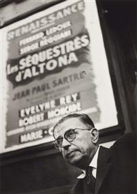 jean-paul sartre devant l'affiche les séquestrés d'altona by pablo volta