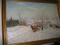 winter landscape with sleigh by alfred brangaard andersen