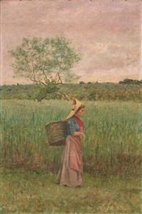 contadina nel paesaggio by angiolo tommasi