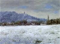 blick auf die burgruine falkenstein im winter by erwin haug