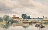 rustics fishing before a weir by edward duncan