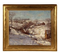 winter landscape with farm houses by charles morris young