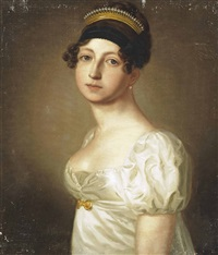 portrait of a lady, half-length, in a white dress by thomas lawrence