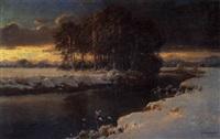 abendstimmung über einer flußbiegung im winter by carl kenzler