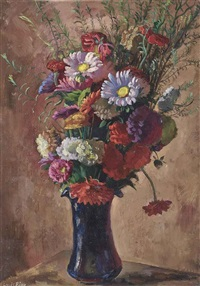 vase avec fleurs by louis adolphe riou