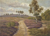 a track running through a sunlit landscape by heinrich harder
