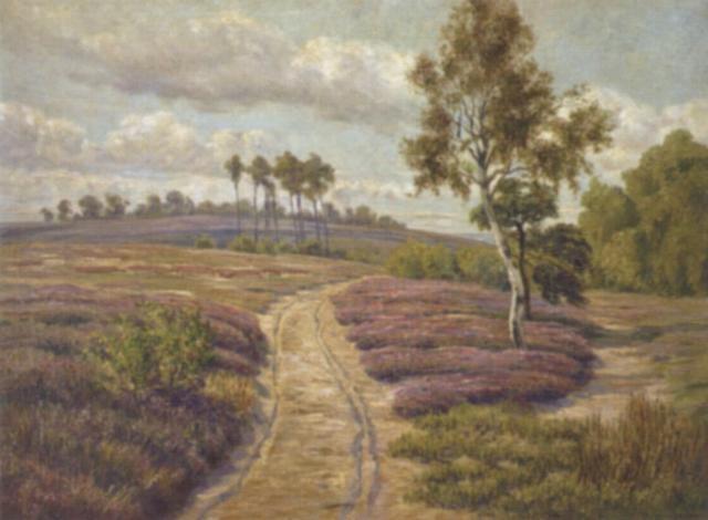 a track running through a sunlit landscape by heinrich harder