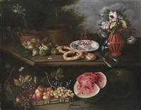 stillleben mit blumen, früchten, brot, einem teller mit salami und einer smaragdeidechse by tommaso realfonso