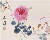 玫瑰 镜片 设色纸本 by yang shanshen
