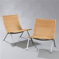 pk-22 easy chairs (pair) by poul kjaerholm