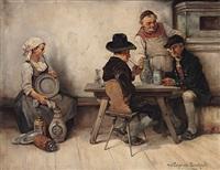 wirt mit zwei trinkern in der stube, seitlich junges mädchen beim zinn putzen by leonhard wilhelm lehmann