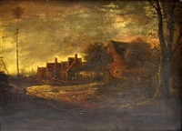continental landscape scene with buildings and trees by egbert lievensz van der poel