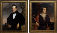 portrait of a man in a landscape (+ portrait of a woman beside a stone ledge; pair) by john thomas peele