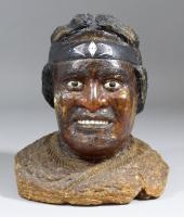 bust of a maori warrior with headband and flax cloak by anonymous-new zealand (19)