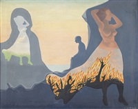 kvinna i brand by vilhelm bjerke-petersen