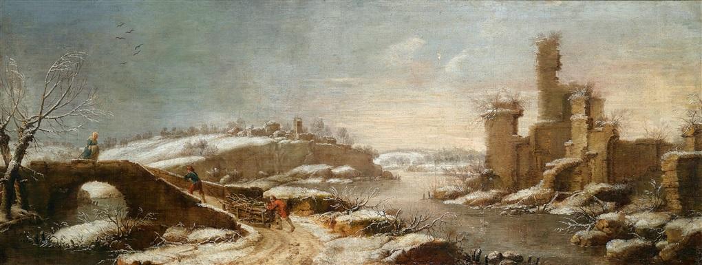 winterliche flusslandschaft mit einer ruine und reisigsammlern by daniel van heil