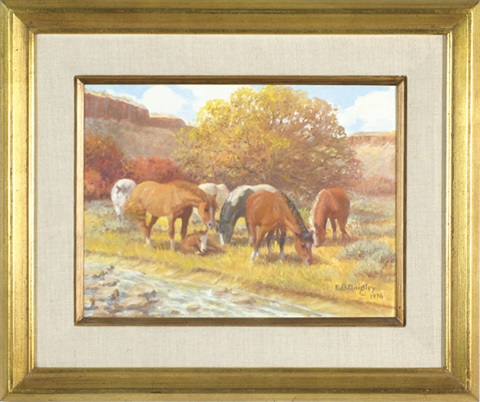 eastern oregon landscape, mares with a foal by edward burns quigley