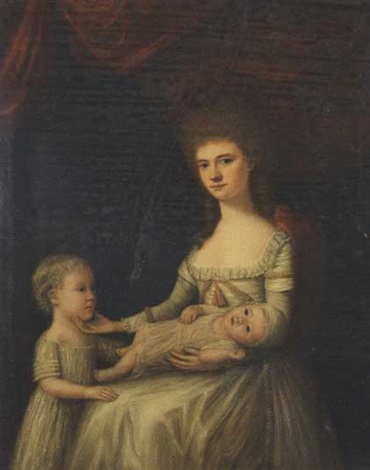 portrait of a lady with two children by anglo american school 19
