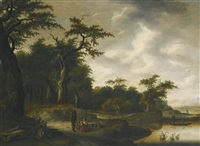 a wooded landscape with travellers on a road by a river by adriaen hendricksz. verboom