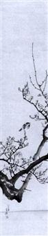 spatz auf einem pflaumenblütenzweig by shiokawa (shion) bunrin