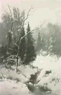 reh im verschneiten winterwaldam bach by alexander steinbrecht