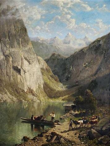 viehtrieb am hochgebirgssee by theodor wilhelm t nocken