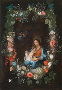 madonna mit kind in einem blumenkranz by catharina ijkens