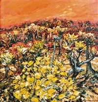 red sky - yellow bush by noel hodnett