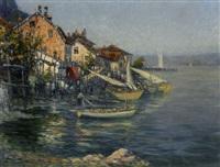 fischerboot an bebautem seeufer in abendstimmung by georges victor laurent dantu