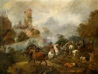 ein reitergefecht zur zeit des dreißigjährigen krieges unterhalb einer belagerten burg by georg philipp rugendas the elder