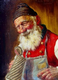elderly man, looking thirstily for a beverage to fill his stein by fritz müller